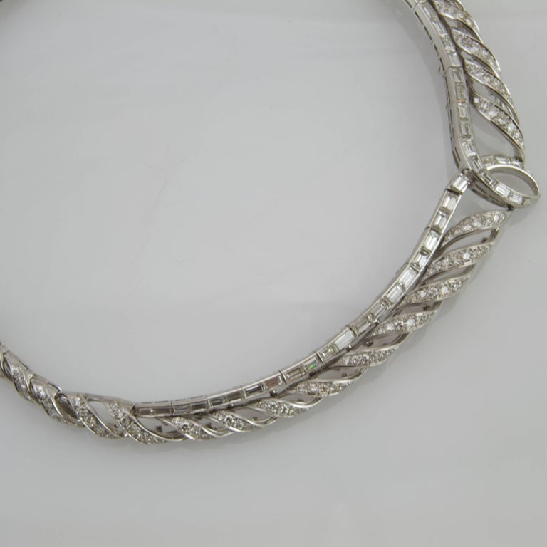 Women's or Men's Vintage 1950 Platinum and Gold Diamond Necklace Made in France For Sale