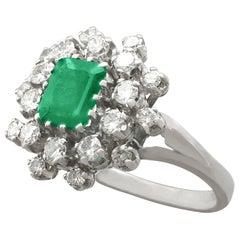 Vintage 1950s 1.24 Carat Emerald and 1.15 Carat Diamond Cocktail Ring