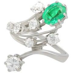 Vintage 1950s 1.29 Carat Emerald 2.02 Carat Diamond White Gold Cocktail Ring