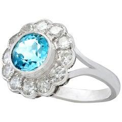 Vintage 1950s 1.34 Carat Aquamarine and Diamond White Gold Cluster Ring