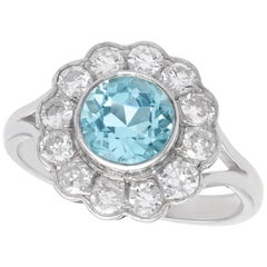 Vintage 1950s 1.34 Carat Aquamarine and Diamond White Gold Cluster Ring