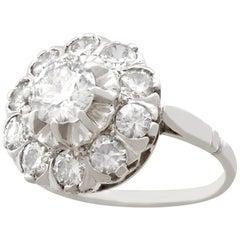 Vintage 1950s 1.35 Carat Diamond Gold Cluster Engagement Ring