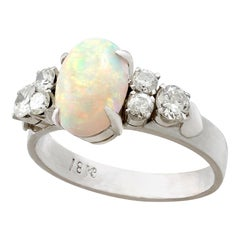 1950s 1.42 Carat Opal and Diamond White Gold Cocktail Ring
