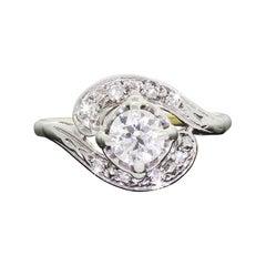 Vintage 1950s 14 Karat Gold Diamond Engagement Ring 0.50 Carat Center VS1 /2