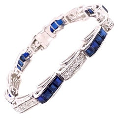 Vintage 1950's 14k White Gold Diamond and Synthetic Sapphire Bracelet