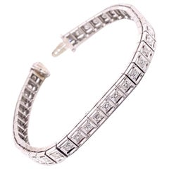 Vintage 1950's 14k White Gold Diamond Tennis Bracelet 1.26ct