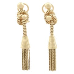 Vintage 1950s 18 Karat Yellow Gold Tassel Drop Earrings
