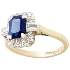 Vintage 1950s 1.85 Carat Sapphire and Diamond Yellow Gold Dress Ring