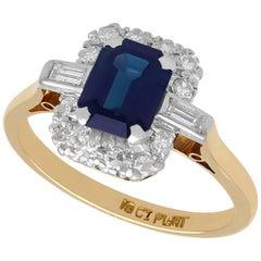 Vintage 1950s 1.85 Carat Sapphire and Diamond Yellow Gold Dress Ring