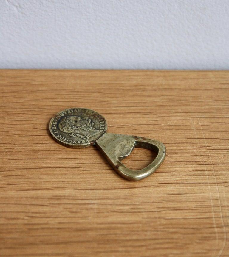 Brass Vintage 1950s 2 Florin Coin Bottle Opener Carl Auböck For Sale