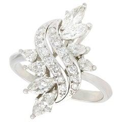 Vintage 1950s 2.19 Carat Diamond and Platinum Cocktail Ring