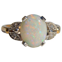 Vintage 1950s 2.54 Carat Opal Diamond 14 Karat Gold Floral Ring