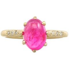 Vintage 1950s 2.68 Carat Star Ruby Diamond Gold Cocktail Ring