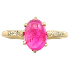 Vintage 1950s 2.68 Carat Star Ruby Diamond Gold Cocktail Ring