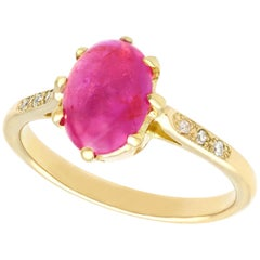 Vintage 1950s 2.68 Carat Cabochon Cut Star Ruby Diamond Gold Cocktail Ring
