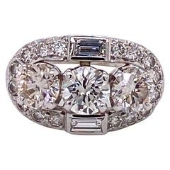 Vintage 1950s 3-Stone Diamond Ring 2.50 Carat