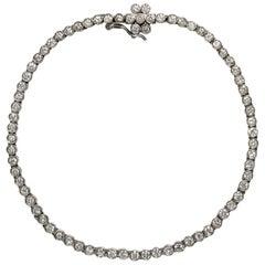 Vintage 1950s 3.70 Carat Brilliant Cut Diamonds Platinum Rivière Tennis Bracelet