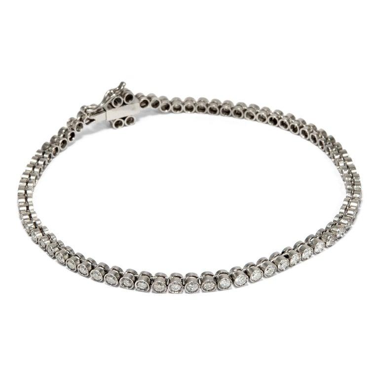ba9fda380b32a Vintage 1950s 3.70 Carat Brilliant Cut Diamonds Platinum Rivière Tennis  Bracelet