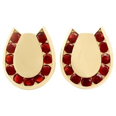 Vintage 1950s 3.82 Carat Garnet and Yellow Gold Horseshoe Cufflinks