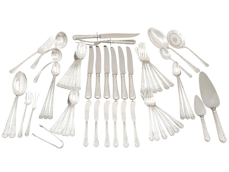 Vintage 1950s American Sterling Silver Canteen of Cutlery for Six For Sale 11