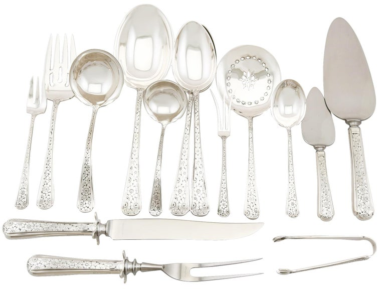 An exceptional, fine and impressive vintage American sterling silver old Brocade pattern flatware service for six persons; an addition to our canteen of cutlery collection.