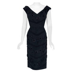 Vintage 1950's Antonelli Italian Couture Black Embroidered Applique Silk Dress