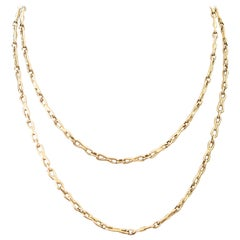 Vintage 1950s Authentic French 18 Karat Yellow Gold Chain Link Necklace
