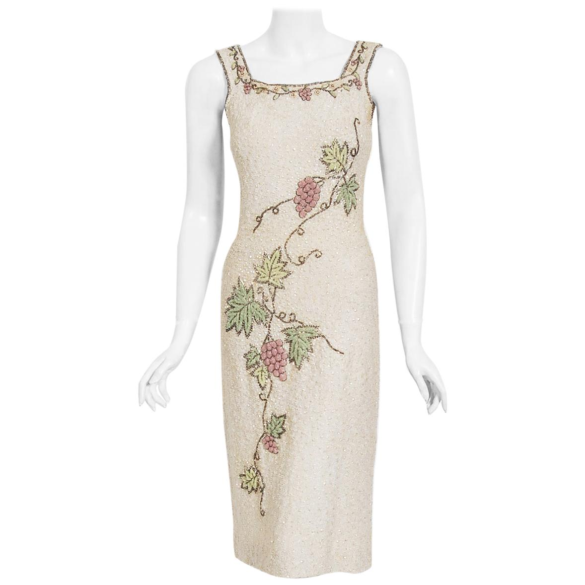 Vintage 1950's Beaded Grapevine Motif Hand-Knit Sequin Wool Hourglass Dress