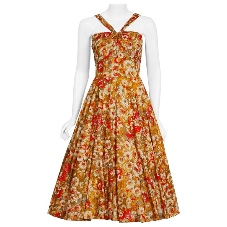 Vintage 1950's Beaded Marigold & Red Floral Print Cotton Shelf-Bust Full Dress For Sale
