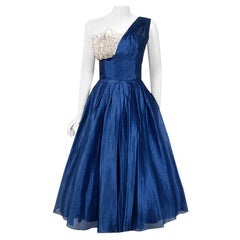 Vintage 1950's Beaumelle Sapphire Organza & Metallic Lace One-Shoulder Dress