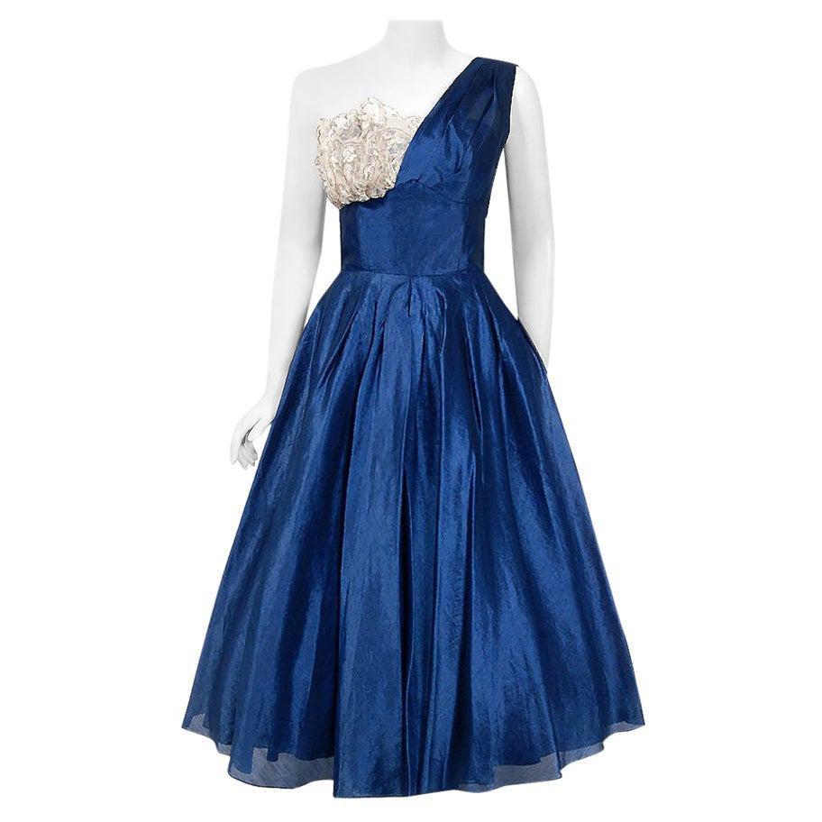 Vintage 1950's Beaumelle Sapphire Organza & Metallic Lace One-Shoulder Dress