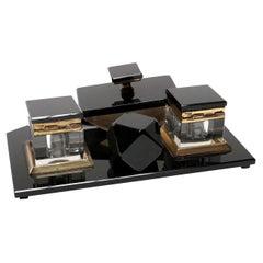 Vintage 1950s Black Glass Desk Set with Brass Details
