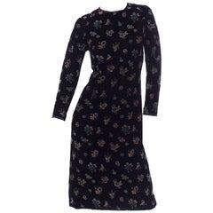 Vintage 1950s Black Silk Velvet Multi Color Floral Print Midi Dress