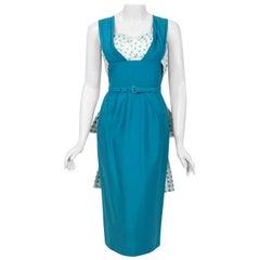 Vintage 1950's Blue Polka-Dot Cotton Pique Shelf-Bust Fishtail Wiggle Sun Dress