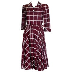 Vintage 1950s Burgundy and White Shirt Dress