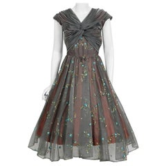 Vintage 1950's Carlye Charcoal Embroidered Floral Silk-Organza Ruched Full Dress
