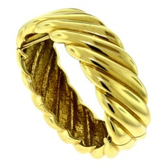 Vintage 1950s Cartier Wide Yellow Gold Bangle