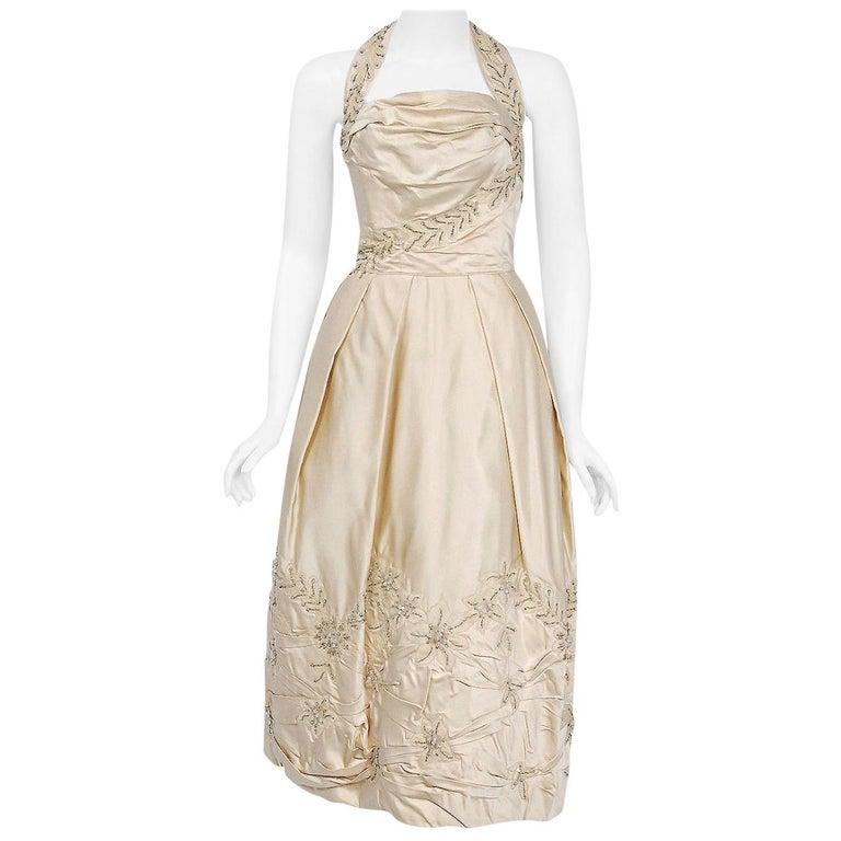 Vintage 1950's Ceil Chapman Ivory Beaded Applique Silk Halter Bridal Dress For Sale