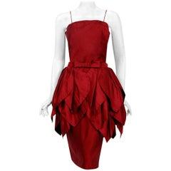 Vintage 1950's Ceil Chapman Merlot Red Silk Tiered Petal Detachable-Skirt Dress