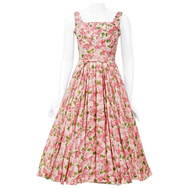 Vintage 1950's Ceil Chapman Pink Carnations Floral Print Cotton Full-Skirt Dress For Sale