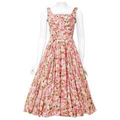 Vintage 1950's Ceil Chapman Pink Carnations Floral Print Cotton Full-Skirt Dress