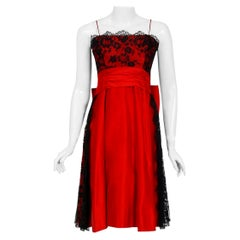 Vintage 1950's Ceil Chapman Red Satin & Black Scalloped Lace Back-Bow Full Dress