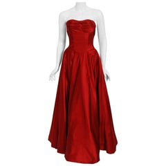 Vintage 1950's Ceil Chapman Ruby-Red Satin Sculpted Strapless Full Skirt Gown