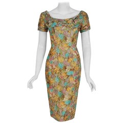 Vintage 1950's Ceil Chapman Watercolor Floral Print Ruched Silk Cocktail Dress