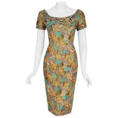 Vintage 1950's Ceil Chapman Watercolor Floral Print Ruched Silk Cocktail Dress