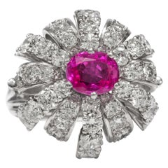 Vintage 1950s Certified No Heat Pink Sapphire & 5.76 Carat Diamond Cocktail Ring