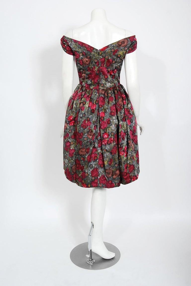 Vintage 1950's Claire Schaffel Floral Print Silk Off-Shoulder Cocktail Dress For Sale 5