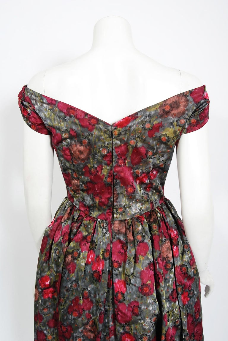 Vintage 1950's Claire Schaffel Floral Print Silk Off-Shoulder Cocktail Dress For Sale 6
