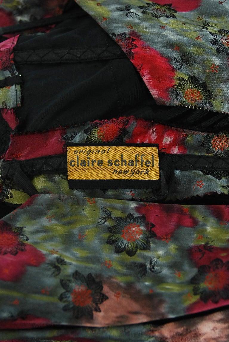 Vintage 1950's Claire Schaffel Floral Print Silk Off-Shoulder Cocktail Dress For Sale 7