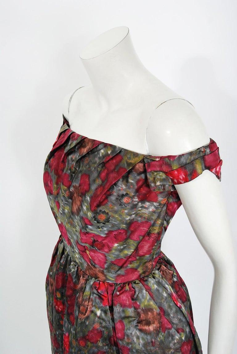 Black Vintage 1950's Claire Schaffel Floral Print Silk Off-Shoulder Cocktail Dress For Sale